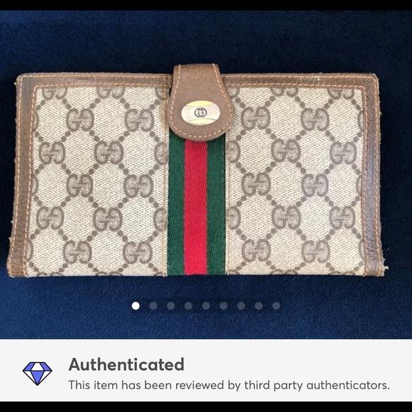 Gucci Handbags - Brown large vintage GUCCI logo print wallet
